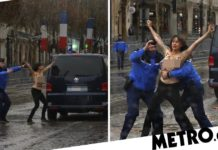 Topless woman protester runs at Donald Trump''s motorcade in Paris