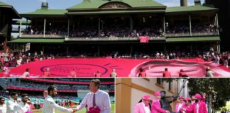 Indian cricketers present signed pink caps to Glenn McGrath in Sydney
